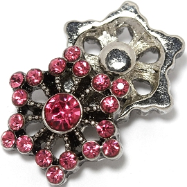 1pc 18mm Snap On Charm Hot Pink Rhinestone ZR1445
