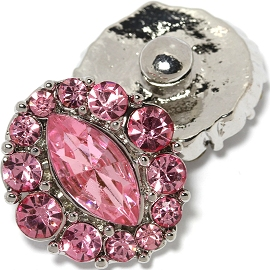 1pc 18mm Snap On Charm Pink Rhinestone ZR1457
