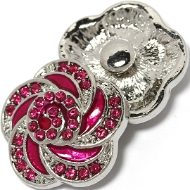 1pc 18mm Snap On Charm Hot Pink Rhinestone ZR1458