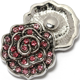 1pc 18mm Snap On Charm Pink Rhinestone Flower ZR1462