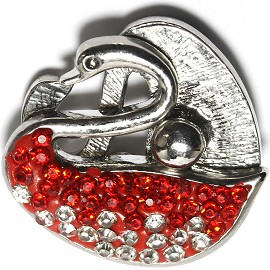 1pc 18mm Snap On Swan Rhinestone Clear Red ZR1476