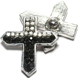 1pc 18mm Snap On Cross Rhinestone Clear Black ZR1478