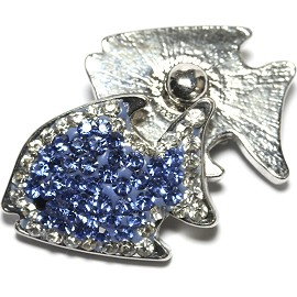 1pc 18mm Snap On Fish Rhinestone Blue Clear ZR1488