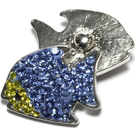 1pc 18mm Snap On Fish Rhinestone Blue Yellow ZR1490