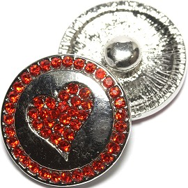 1pc 18mm Snap On Heart Rhinestone Silver Red ZR1492
