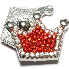 1pc 18mm Snap On Rhinestone Crown Red Clear ZR1510