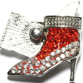 1pc 18mm Snap On Rhinestone High Heel Clear Red ZR1519