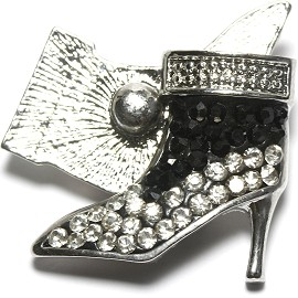 1pc 18mm Snap On Rhinestone High Heel Black Clear ZR1523