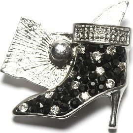 1pc 18mm Snap On Rhinestone High Heel Black Clear ZR1524