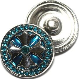 1pc 18mm Snap On Rhinestone Shield Silver Turquoise ZR1539