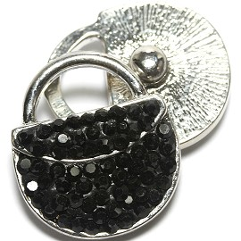 1pc 18mm Snap On Rhinestone Purse Black ZR1562