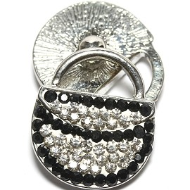 1pc 18mm Snap On Rhinestone Purse White Black ZR1565