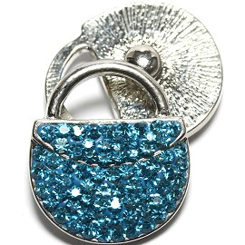 1pc 18mm Snap On Rhinestone Purse Turquoise ZR1566