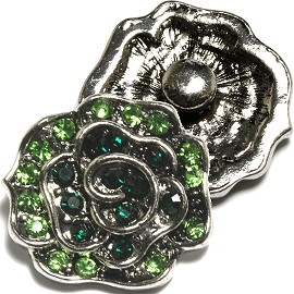 1pc 18mm Snap on Charm Green Rhinestone Silver ZR1603