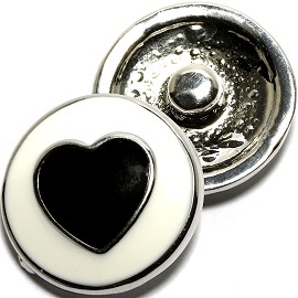1pc 18mm Heart Snap on Black White ZR1604