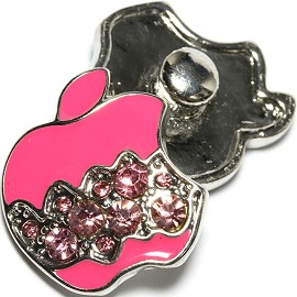 1pc 18mm Snap On Charm Pink Apple Rhinestone ZR1629
