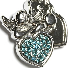 1pc 18mm Snap On Charm Angel Sky Blue Rhinestone ZR1641