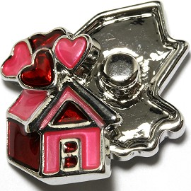 1pc 18mm Snap On Charm Pink Heart House ZR1705
