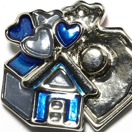 1pc 18mm Snap On Charm Blue Gray Heart House ZR1706