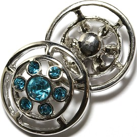1pc 18mm Snap On Charm Silver Turquoise Rhinestone ZR1713