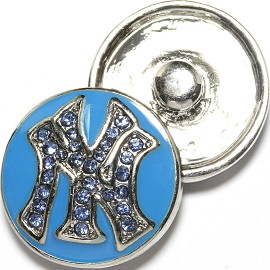 1pc 18mm Snap On Charm Blue Rhinestone NY ZR1732