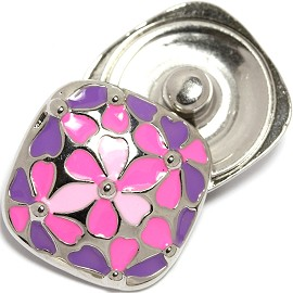 1pc 18mm Snap On Charm Pink Purple Silver ZR1753