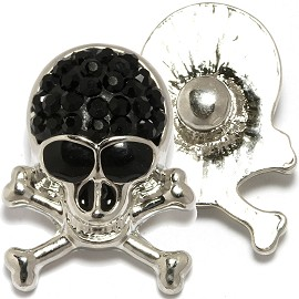 1pc 18mm Snap On Charm black Rhinestone Skull ZR1765