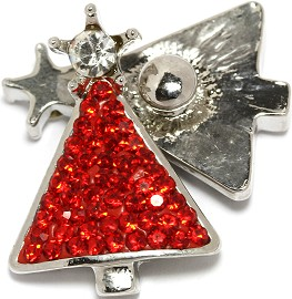 1pc 18mm Snap On Charm Star Red Christmas Tree Rhinestone ZR1771