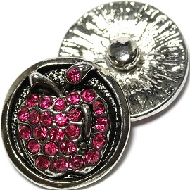 1pc 18mm Snap On Charm Rhinestone Hot Pink Apple ZR1807