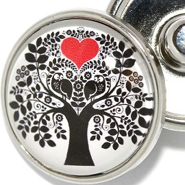 1pc 18mm Snap On Charm Red Heart Tree ZR1878