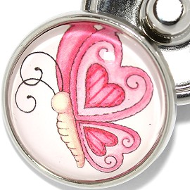 1pc 18mm Snap On Charm Pink Heart Butterfly ZR1883
