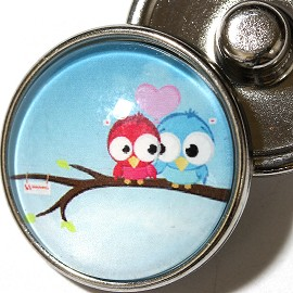 1pc 18mm Owl Pink Blue Silver Snap On Charm ZR1978