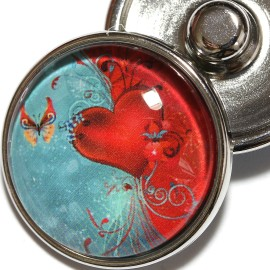 1pc 18mm Heart Butterfly snap On Charm ZR2003