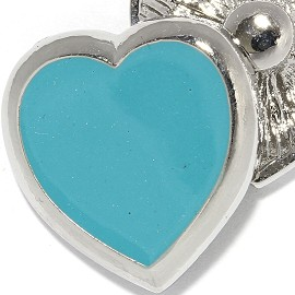 18mm 1pc Snap Charm On Blue Heart ZR2045