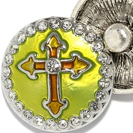 18mm 1pc Snap Charm On Yellow Clear Rhinestone Cross ZR2056