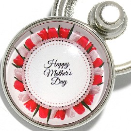 1pc 18mm Snap On Charm Round Happy Mother's Day Rose ZR2120