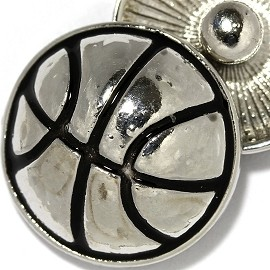 1pc 18mm Basketball Snap On Button Silver Black ZR2154