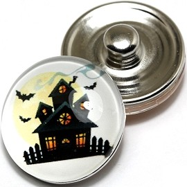 1pc 18mm Snap On Charm Round Bat House ZR238