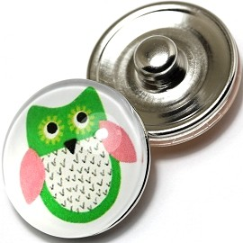 1pc 18mm Snap On Charm Round Green Owl ZR241
