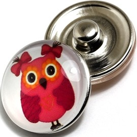 1pc 18mm Snap On Charm Round Red Owl ZR246