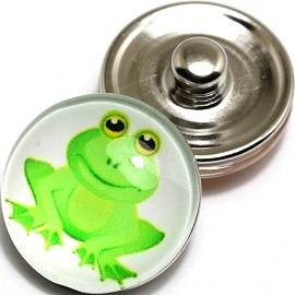 1pc 18mm Snap On Charm Frog Green ZR266