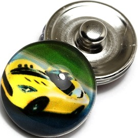 1pc 18mm Snap On Charm Sports Car Yellow ZR348