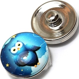 1pc 18mm Snap On Charm Owl Blue ZR354