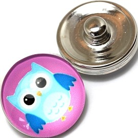 1pc 18mm Snap On Charm Owl Turquoise Purple ZR359