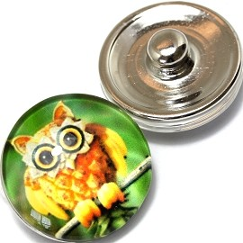 1pc 18mm Snap On Charm Owl Green Yellow ZR361