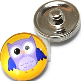 1pc 18mm Snap On Charm Owl Yellow Purple ZR363
