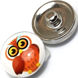 1pc 18mm Snap On Charm Owl Brown ZR368