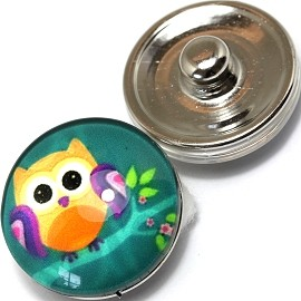 1pc 18mm Snap On Charm Owl Turquoise Yellow ZR370