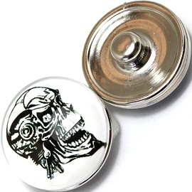 1pc 18mm Skull Snap On Charm White Black ZR381
