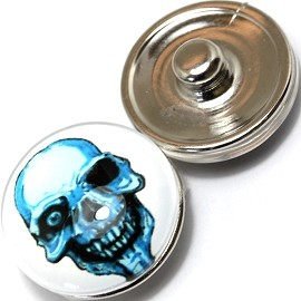 1pc 18mm Skull Snap On Charm Turquoise ZR387